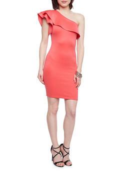Ruffled One Shoulder Scuba Knit Dress - 1410068514272