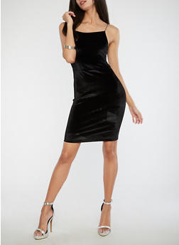 Velvet Bodycon Dress - BLACK - 1410068514281