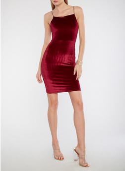 Velvet Bodycon Dress - 1410068514281