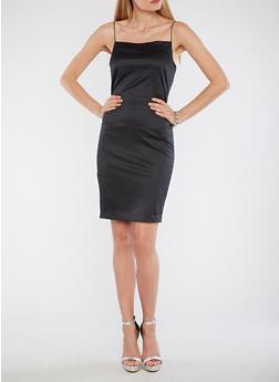 Satin Bodycon Dress - BLACK - 1410068514322