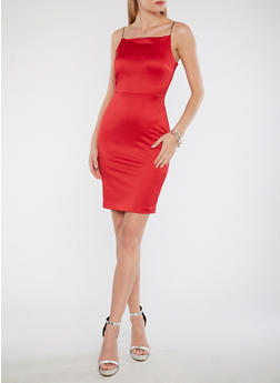Satin Bodycon Dress - 1410068514322