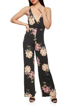 Floral Faux Wrap Jumpsuit - 1410068514332