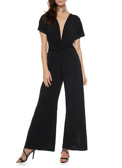 Short Sleeve Flared Leg Jumpsuit - 1410069390026
