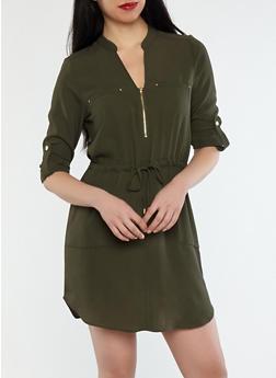 Crepe Knit Cinched Waist Dress - OLIVE DARK - 1410069390046