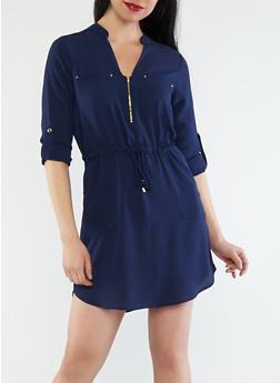 Crepe Knit Cinched Waist Dress - 1410069390046