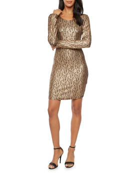 Long Sleeve Dress in Metallic Knit - 1410069390050