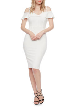 Mid Length Cold Shoulder Dress with Ruffle Detail - 1410069390054