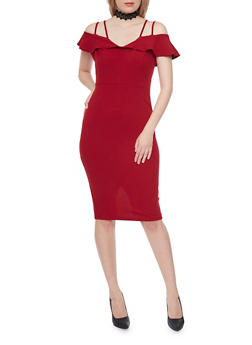 Mid Length Cold Shoulder Dress with Ruffle Detail - RUBY - 1410069390054