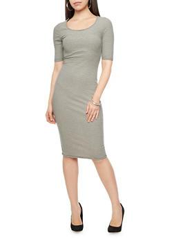 Short Sleeve Ribbed Knit Midi Dress with Cutout Back,BLACK,medium