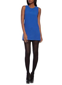 Sleeveless Textured Shift Dress With Exposed Back Zipper,COBALT,medium