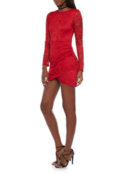 Long Sleeve Lace Mini Dress with Tiered Wrap Front - 1410069390063
