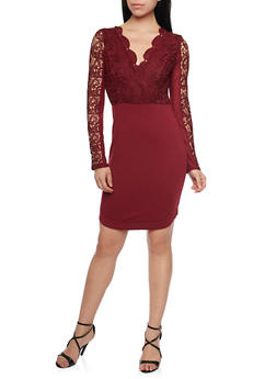 Long Sleeve Lace Mini Dress with Back Cutout - BURGUNDY - 1410069390064