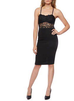 Bodycon Dress with Lace Bodice - BLACK - 1410069390067
