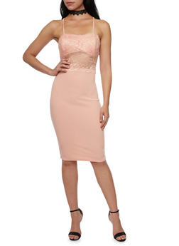 Lace Detailed Racerback Bodycon Dress with Back Cutout - 1410069390067