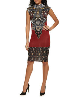 Mock Neck Bodycon Dress with Paisley Print - 1410069390102