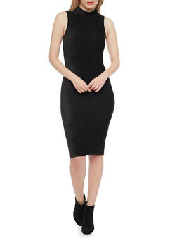 Sleeveless Mockneck Corduroy Bodycon Dress - BLACK - 1410069390108