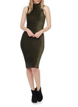 Sleeveless Mockneck Corduroy Bodycon Dress - OLIVE - 1410069390108