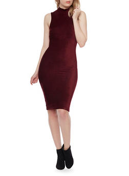 Sleeveless Mockneck Corduroy Bodycon Dress - WINE - 1410069390108