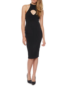 Mid Length Halter Neck Dress with Keyhole Cutout - BLACK - 1410069390110