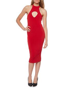 Mid Length Halter Neck Dress with Keyhole Cutout - 1410069390110