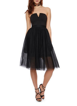 Strapless Fit and Flare Dress with Tulle Skirt - BLACK - 1410069390126