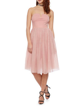 Strapless Fit and Flare Dress with Tulle Skirt - 1410069390126