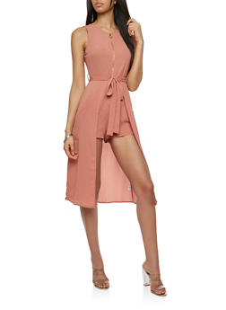 Zip Front Romper with Maxi Skirt Overlay - 1410069390128