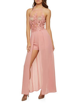 Embroidered Mesh Romper with Maxi Skirt Overlay - 1410069390133
