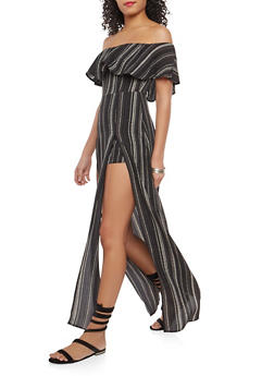 Off the Shoulder Stripe Romper Dress - 1410069390141