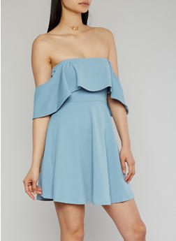 Off The Shoulder Skater Dress with Ruffle Overlay - 1410069390149