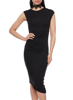 Ruched Mid Length Bodycon Dress - BLACK - 1410069390163