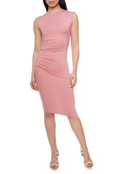 Ruched Mid Length Bodycon Dress - 1410069390163
