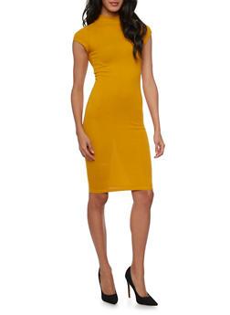 Mid Length Mockneck T Shirt Dress with Back Keyhole - MUSTARD - 1410069390178