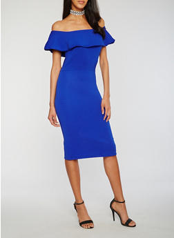 Ruffled Off the Shoulder Bodycon Midi Dress - 1410069390188