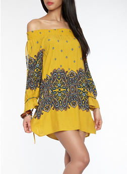 Off the Shoulder Paisley Border Print Dress - 1410069390212