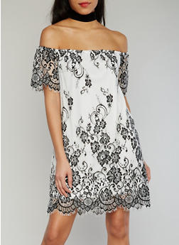 Two Tone Off The Shoulder Frayed Lace Dress - 1410069390239