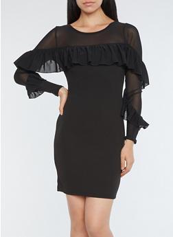 Ruffled Mesh Detail Bodycon Dress - BLACK - 1410069390388