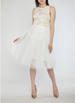 Mesh Lace Skater Dress - WHITE - 1410069390447