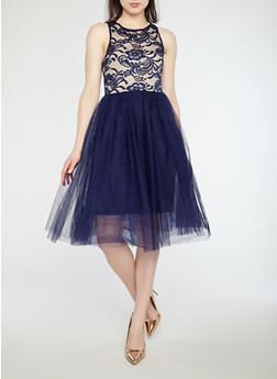 Mesh Lace Skater Dress - 1410069390447