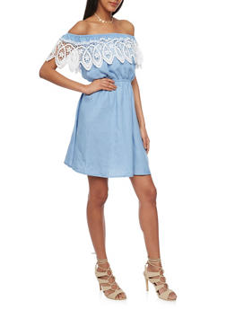 Off the Shoulder Denim Dress with Crochet Overlay - 1410069390481
