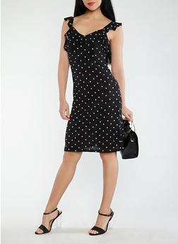 Polka Dot Ruffle Dress - 1410069390610