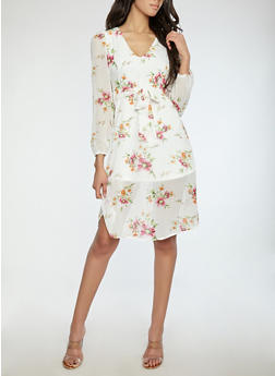 Floral Tie Waist Midi Dress - 1410069390618