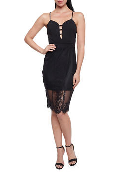 Sleeveless Bodycon Dress with Lace Overlay and Lattice Details - 1410069391006