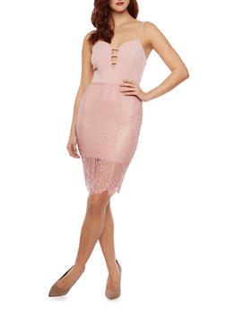 Sleeveless Bodycon Dress with Lace Overlay and Lattice Details - BLUSH - 1410069391006