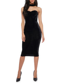 Velvet Bodycon Dress with Choker Detail - 1410069391010