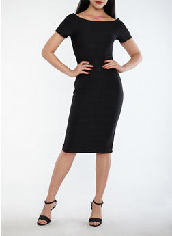 Off the Shoulder Bandage Dress - BLACK - 1410069391020