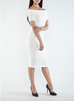 Off the Shoulder Bandage Dress - IVORY - 1410069391020