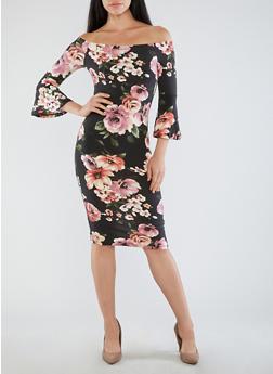 Floral Bell Sleeve Off the Shoulder Dress - 1410069391026