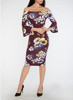 Floral Bell Sleeve Off the Shoulder Dress - 1410069391026