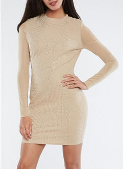 Studded Mesh Sleeve Dress - 1410069391045